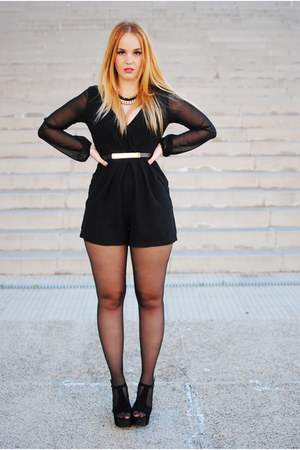 black AX Paris bodysuit - black Jeffrey Campbell heels - black Zara necklace