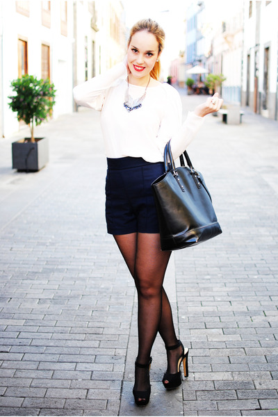 black Zara bag - navy Zara shorts - white Zara blouse - navy MaxNina necklace