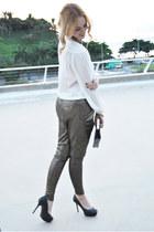 black Zara heels - black Forever 21 bag - black Zara pants - ivory Zara blouse