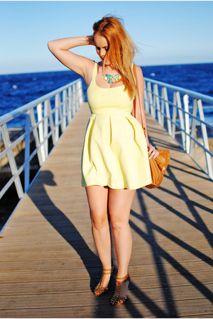 yellow Bitchy Gypsy necklace - light yellow Zara dress - camel Zara bag