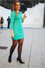 Turquoise-blue-persunmall-dress-black-mango-heels