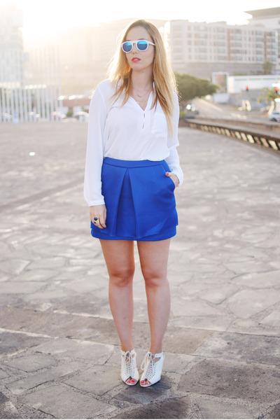 blue Wholesale Celebshades sunglasses - white Zara blouse - white Mango heels