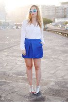 blue Wholesale Celebshades sunglasses - white Zara blouse - white Mango heels