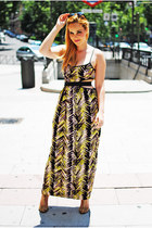 yellow Lashes of London dress - camel Zara sandals