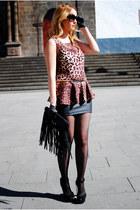 black suiteblanco bag - black Bershka skirt - crimson Lefties blouse