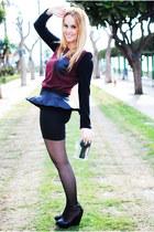black Zara purse - crimson nowIStyle shirt - black Lefties skirt