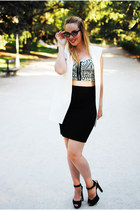 black Zara skirt - white Zara heels - black SheLikes top