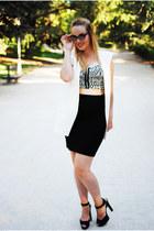 black Zara skirt - white Zara heels - black SheLikes top