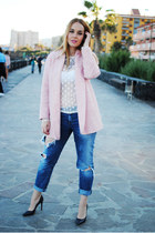 charcoal gray Zara shoes - bubble gum Zara coat - blue Zara jeans