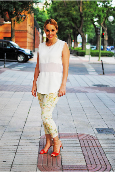 yellow Zara pants - nude Zara sandals - white Zara blouse - beige H&M earrings