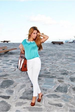teal suiteblanco blouse - white Massimo Dutti pants