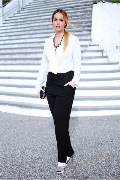black q2 jumper - black Zara heels - black Zara necklace