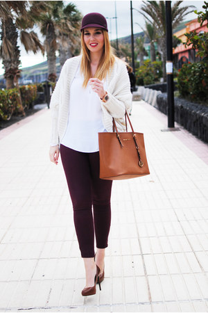 crimson Zara leggings - crimson Dayaday hat - brown Michael Kors bag