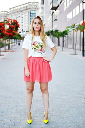 white Front Row Shop shirt - coral OASAP skirt - yellow Lovelyshoesnet heels