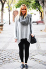 Dark-gray-zara-shoes-silver-nowistyle-sweater-heather-gray-zara-scarf