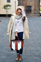 dark brown Rings and Tings necklace - tan Tommy Hilfiger coat - navy Mango jeans