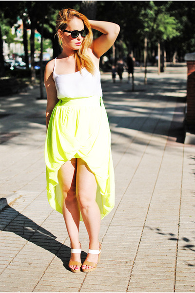 yellow nowIStyle skirt - black Stradivarius sunglasses - white Bershka blouse