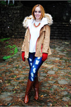 light brown Sheinside jacket - brown Stradivarius boots