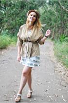 brown Daniel Wellington watch - white cichic dress - camel YRB Fashion blazer