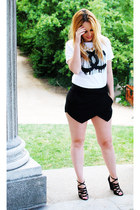 white blue velvet shirt - black Zara shorts - camel suiteblanco necklace