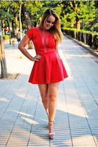 brick red PresKA dress - eggshell Zara sandals
