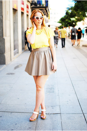 tan Mosquito skirt - white cserrano shoes - white SIX sunglasses