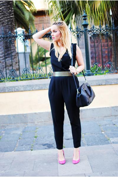 black Zara bag - hot pink Zara heels - black Mango jumper