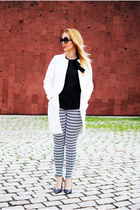 white Zara coat - black zeroUV sunglasses - charcoal gray Zara heels