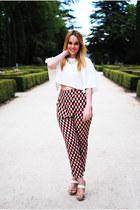 dark brown cserrano shoes - dark brown cserrano pants - white Zara blouse