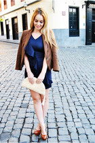 brown Zara blazer - navy Dolores Promesas dress - ivory Diez Lunas ibiza bag