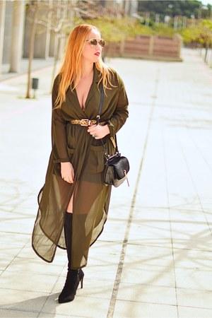 black Marypaz boots - army green sammydress dress - black Zara bag