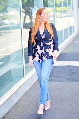 bubble gum Zara blazer - sky blue Levis jeans - bubble gum dior sunglasses