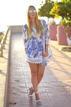 white Lovelywholesale dress - white BLONDEDGE bag - silver dior sunglasses