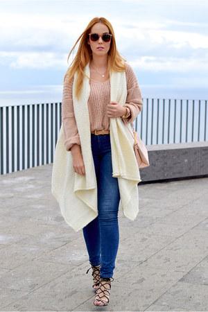 light pink Zara shoes - navy Zara jeans - light pink nowIStyle sweater