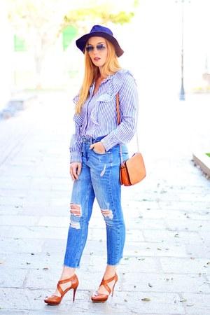 blue rayban sunglasses - navy Bershka blouse - brown Michael Kors heels