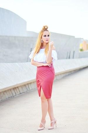white Stradivarius blouse - beige Lovelywholesale heels