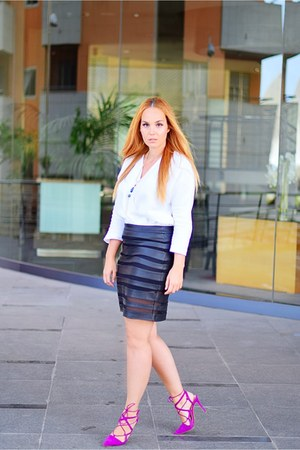magenta Zara heels - white Massimo Dutti blouse - black Aliexpress skirt