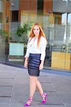 magenta Zara heels - white Massimo Dutti blouse - black Aliexpress skirt