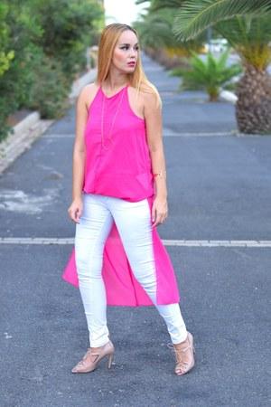 hot pink DressLink dress - white Primark jeans