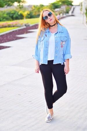 black Bershka jeans - light blue Gearbest jacket - white Zara shirt