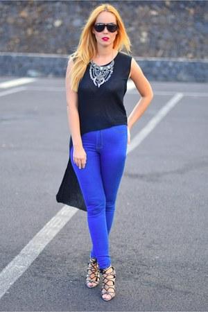 blue Bershka jeans - black Bershka shirt - black DSquared sunglasses