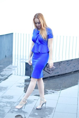 blue Fashionmia dress - black ottaviani bag - silver AmiClubWear sandals