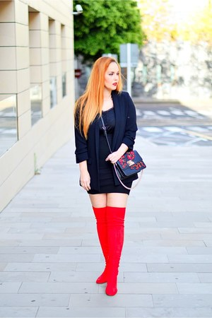 red Stradivarius boots - black Zara blazer - black Mango bag