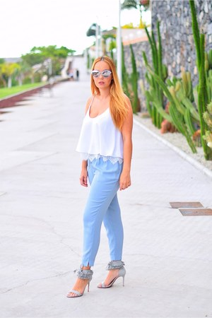 white Zara blouse - sky blue dior sunglasses - silver Mango sandals