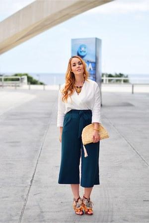 teal Zara pants - tawny Zara heels - white Massimo Dutti blouse
