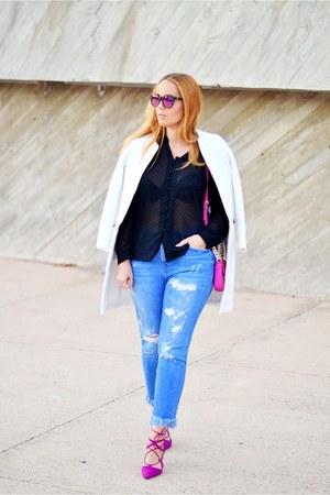 hot pink Zara shoes - white Zara coat - blue Zara jeans