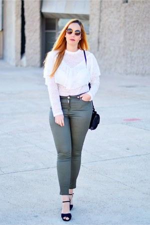 black opticalh woow sunglasses - olive green Cortefiel jeans - ivory Zara blouse