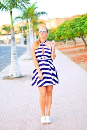 blue DressLink dress - blue dior sunglasses - white BLANCO heels