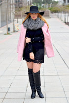 black Massimo Dutti boots - bubble gum Zara coat - black H&M hat