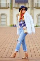 white Stradivarius coat - camel suiteblanco boots - blue Zara jeans